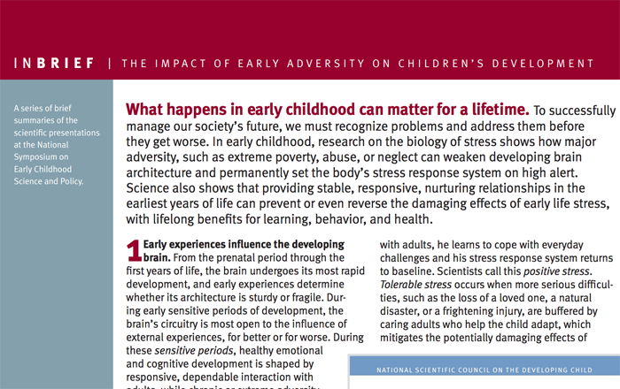 Image for InBrief: The Impact of Early Adversity on Children's Development
