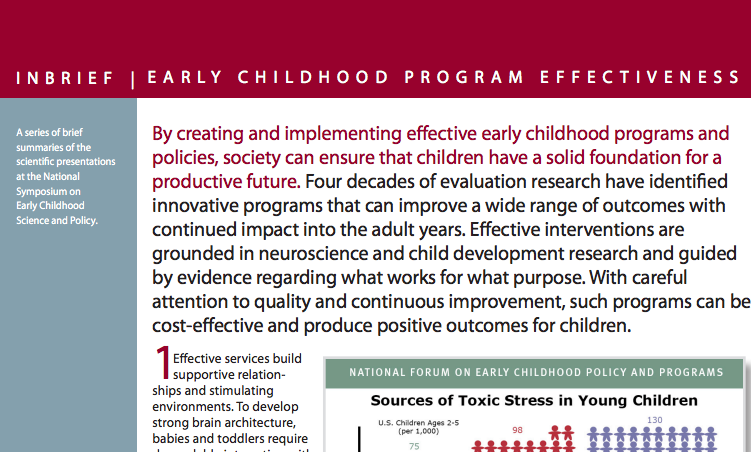 Early Childhood Program Effectiveness InBrief